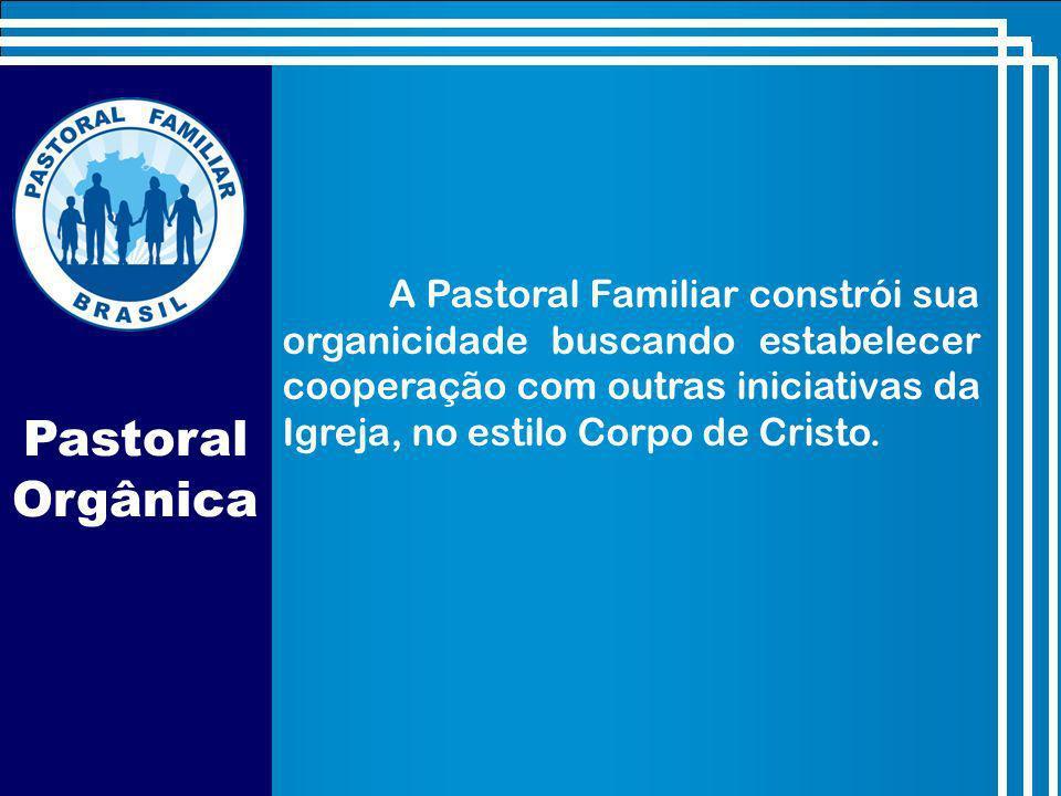 Pastoral Orgânica A Pastoral Familiar constrói sua organicidade buscando estabelecer cooperação com outras iniciativas da Igreja, no estilo Corpo de Cristo.