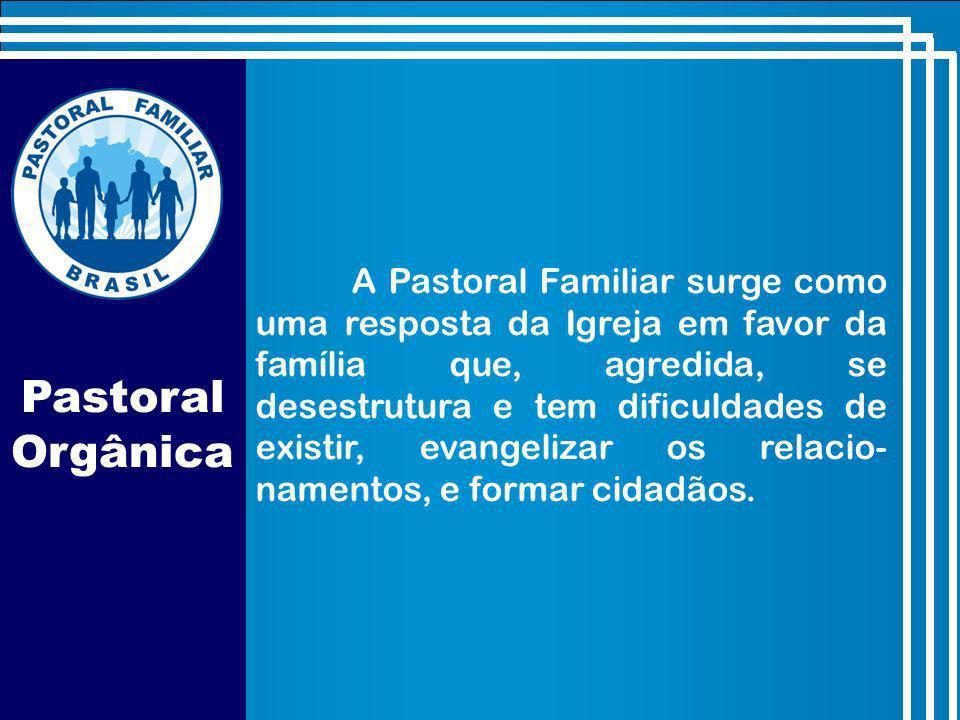 A Pastoral Familiar surge como uma resposta da Igreja em favor da família que, agredida, se desestrutura e tem dificuldades de existir, evangelizar os relacio- namentos, e formar cidadãos.