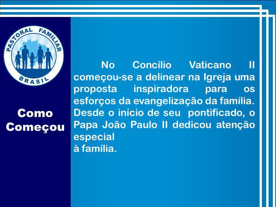 Como Começou No Concílio Vaticano II começou-se a delinear na Igreja uma proposta inspiradora para os esforços da evangelização da família.