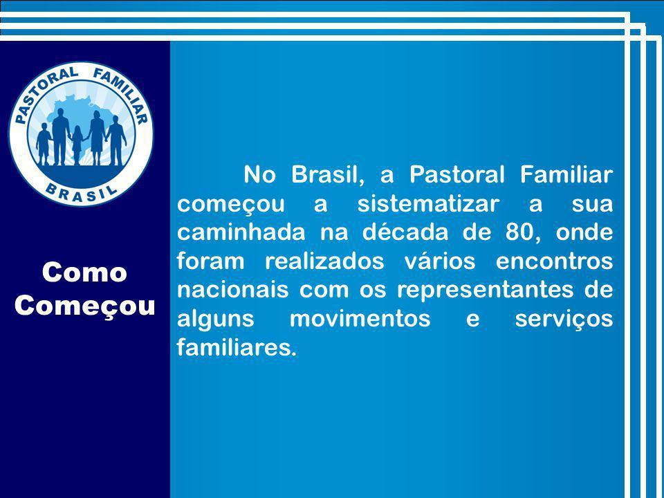 Como Começou No Brasil, a Pastoral Familiar começou a sistematizar a sua caminhada na década de 80, onde foram realizados vários encontros nacionais com os representantes de alguns movimentos e serviços familiares.