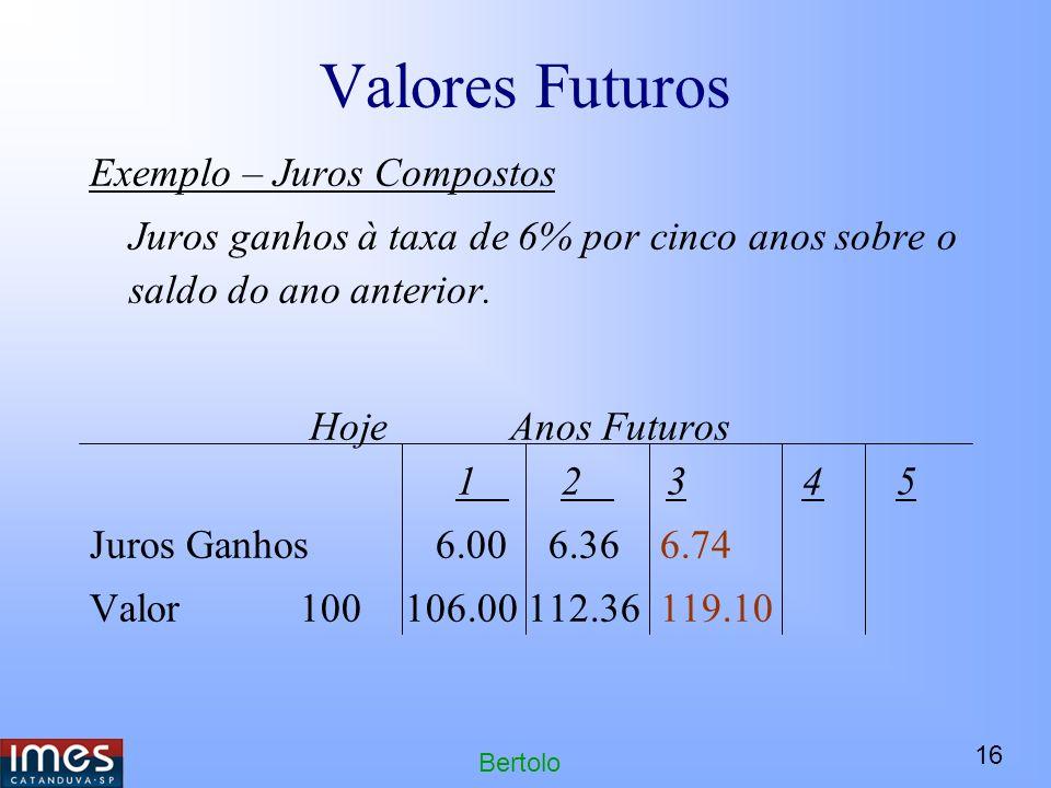 16 Bertolo Valores Futuros Exemplo – Juros Compostos Juros ganhos à taxa de 6% por cinco anos sobre o saldo do ano anterior.