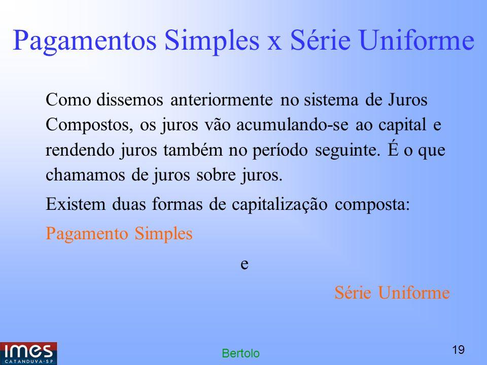19 Bertolo Pagamentos Simples x Série Uniforme Como dissemos anteriormente no sistema de Juros Compostos, os juros vão acumulando-se ao capital e rendendo juros também no período seguinte.