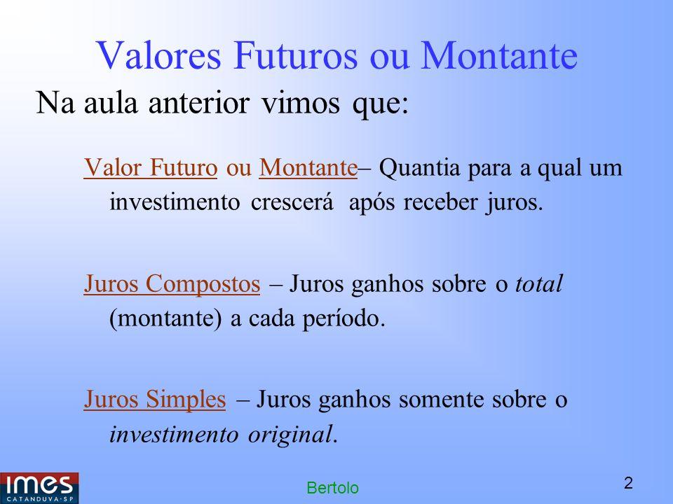 2 Bertolo Valores Futuros ou Montante Valor Futuro ou Montante– Quantia para a qual um investimento crescerá após receber juros.