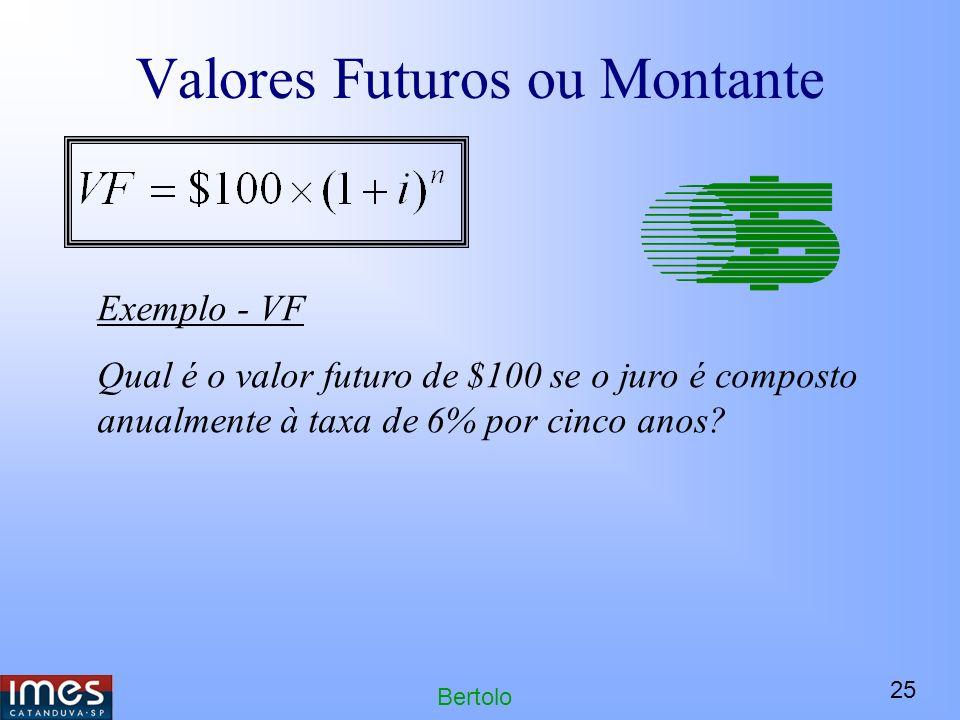 25 Bertolo Valores Futuros ou Montante Exemplo - VF Qual é o valor futuro de $100 se o juro é composto anualmente à taxa de 6% por cinco anos?