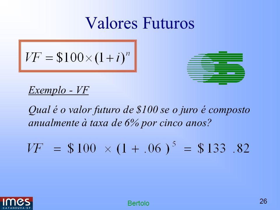 26 Bertolo Valores Futuros Exemplo - VF Qual é o valor futuro de $100 se o juro é composto anualmente à taxa de 6% por cinco anos?