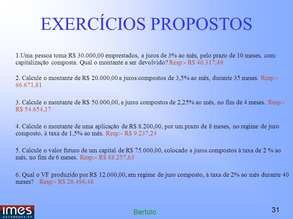 31 Bertolo EXERCÍCIOS PROPOSTOS 1.Uma pessoa toma R$ 30.000,00 emprestados, a juros de 3% ao mês, pelo prazo de 10 meses, com capitalização composta.