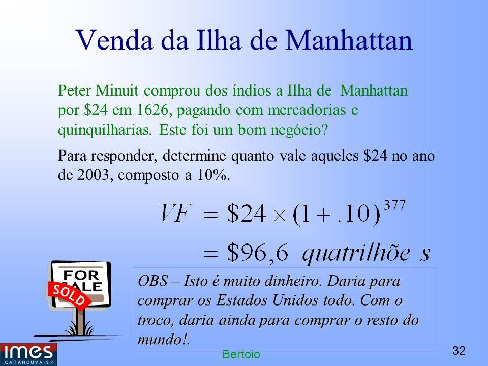 32 Bertolo Venda da Ilha de Manhattan Peter Minuit comprou dos índios a Ilha de Manhattan por $24 em 1626, pagando com mercadorias e quinquilharias.