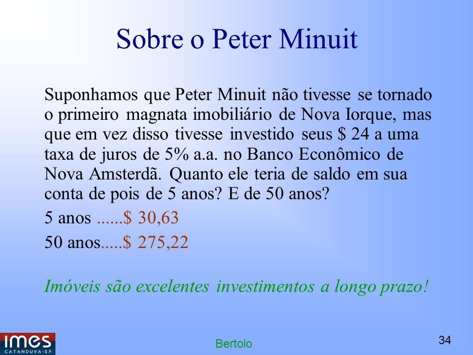 34 Bertolo Sobre o Peter Minuit Suponhamos que Peter Minuit não tivesse se tornado o primeiro magnata imobiliário de Nova Iorque, mas que em vez disso tivesse investido seus $ 24 a uma taxa de juros de 5% a.a.