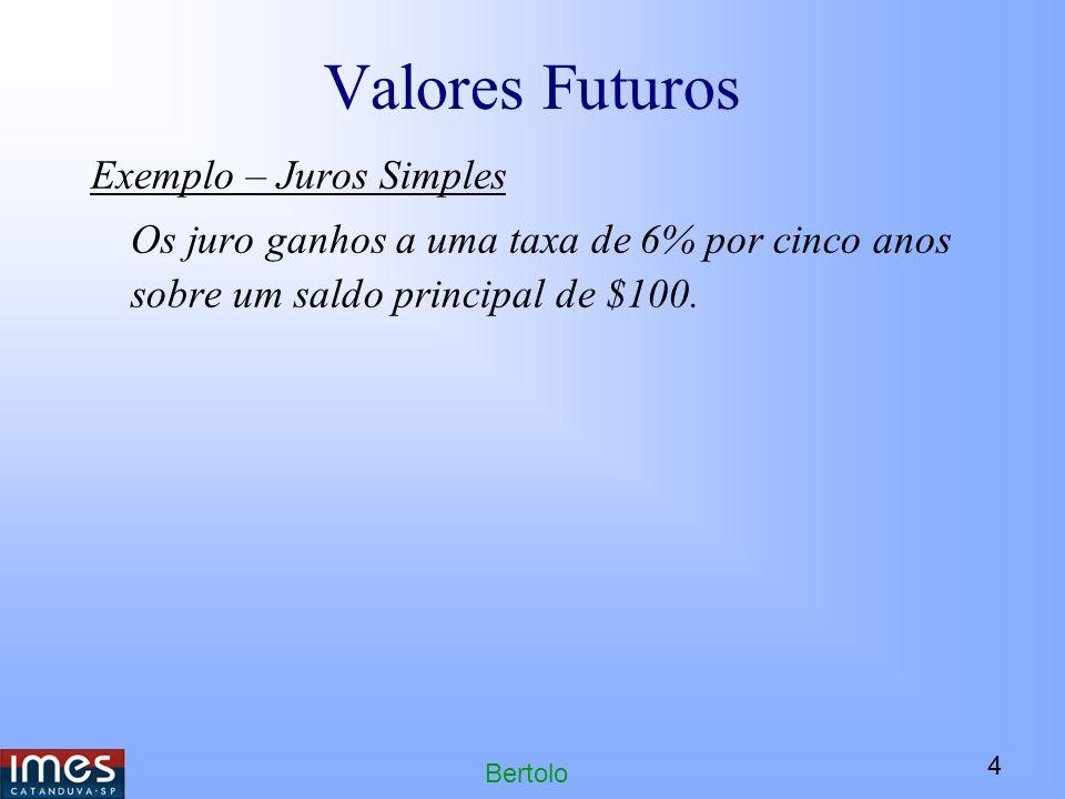 4 Bertolo Valores Futuros Exemplo – Juros Simples Os juro ganhos a uma taxa de 6% por cinco anos sobre um saldo principal de $100.