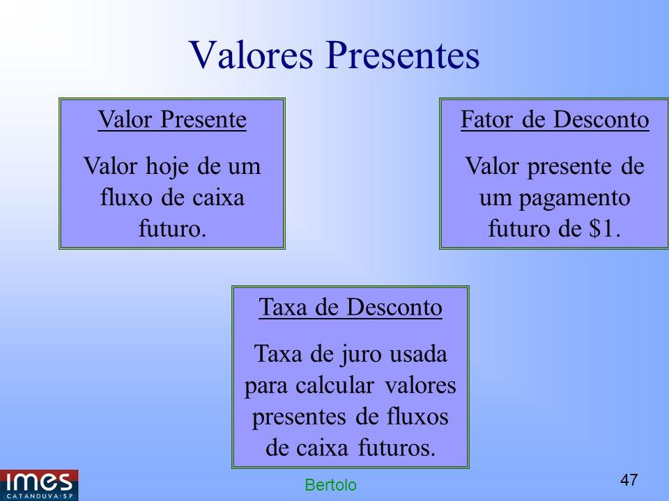 47 Bertolo Valores Presentes Valor Presente Valor hoje de um fluxo de caixa futuro.