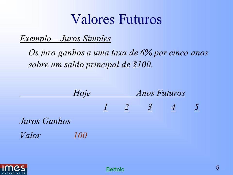 5 Bertolo Valores Futuros Exemplo – Juros Simples Os juro ganhos a uma taxa de 6% por cinco anos sobre um saldo principal de $100.