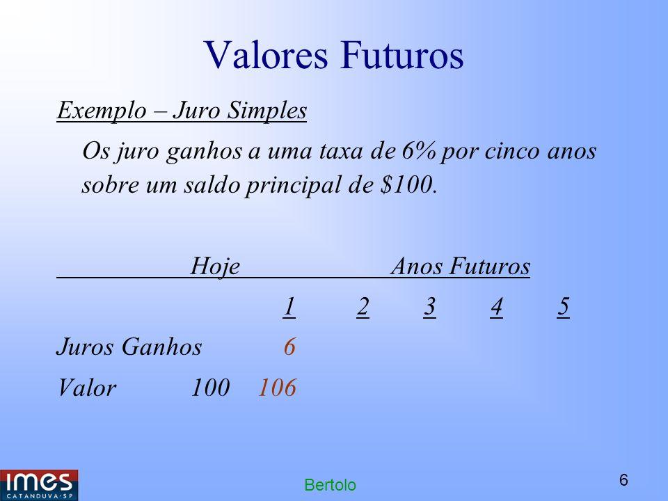 6 Bertolo Valores Futuros Exemplo – Juro Simples Os juro ganhos a uma taxa de 6% por cinco anos sobre um saldo principal de $100.