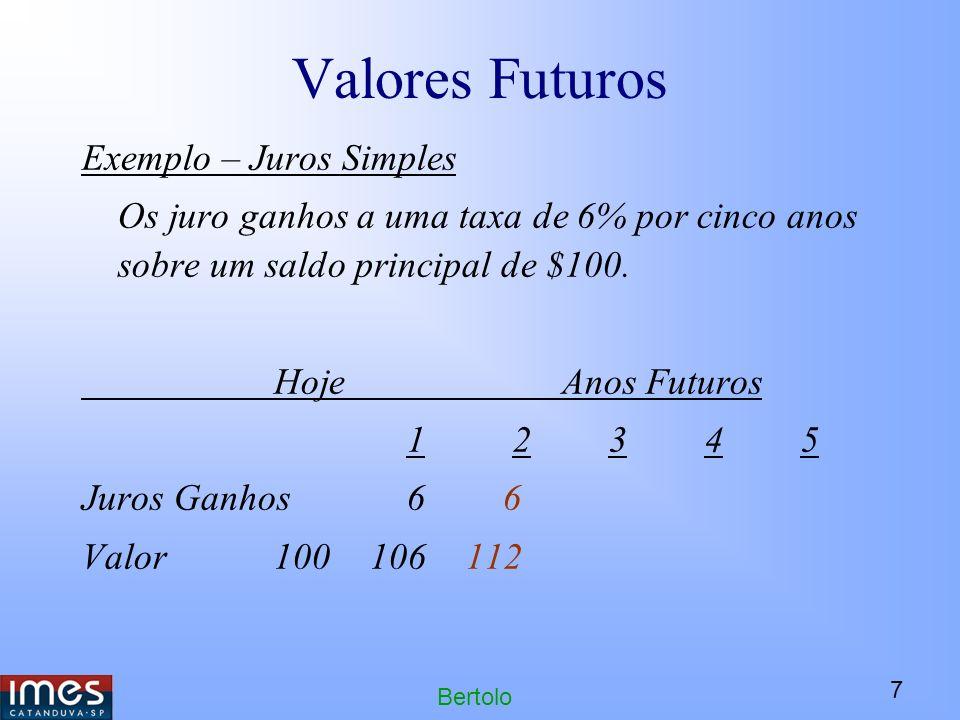 7 Bertolo Valores Futuros Exemplo – Juros Simples Os juro ganhos a uma taxa de 6% por cinco anos sobre um saldo principal de $100.