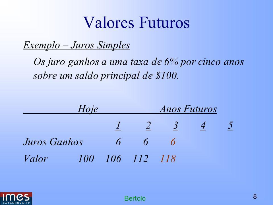 8 Bertolo Valores Futuros Exemplo – Juros Simples Os juro ganhos a uma taxa de 6% por cinco anos sobre um saldo principal de $100.