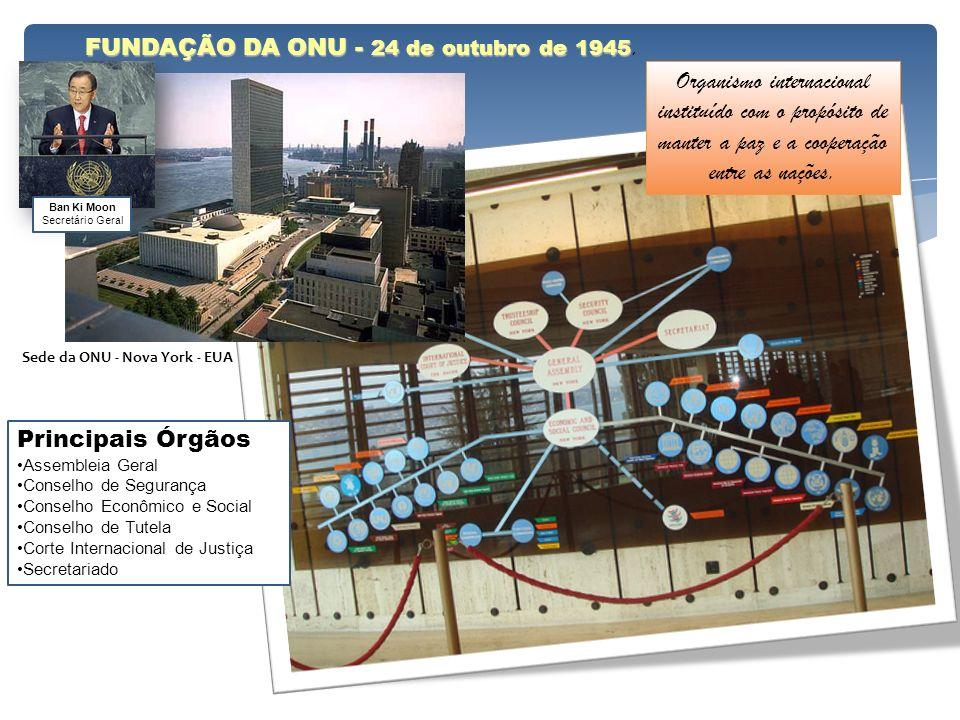 FUNDAÇÃO DA ONU - 24 de outubro de 1945 FUNDAÇÃO DA ONU - 24 de outubro de 1945. Sede da ONU - Nova York - EUA Organismo internacional instituído com