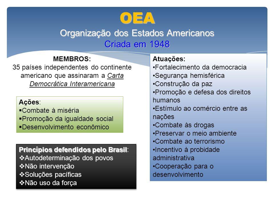 OEA Organização dos Estados Americanos Criada em 1948 MEMBROS: 35 países independentes do continente americano que assinaram a Carta Democrática Inter