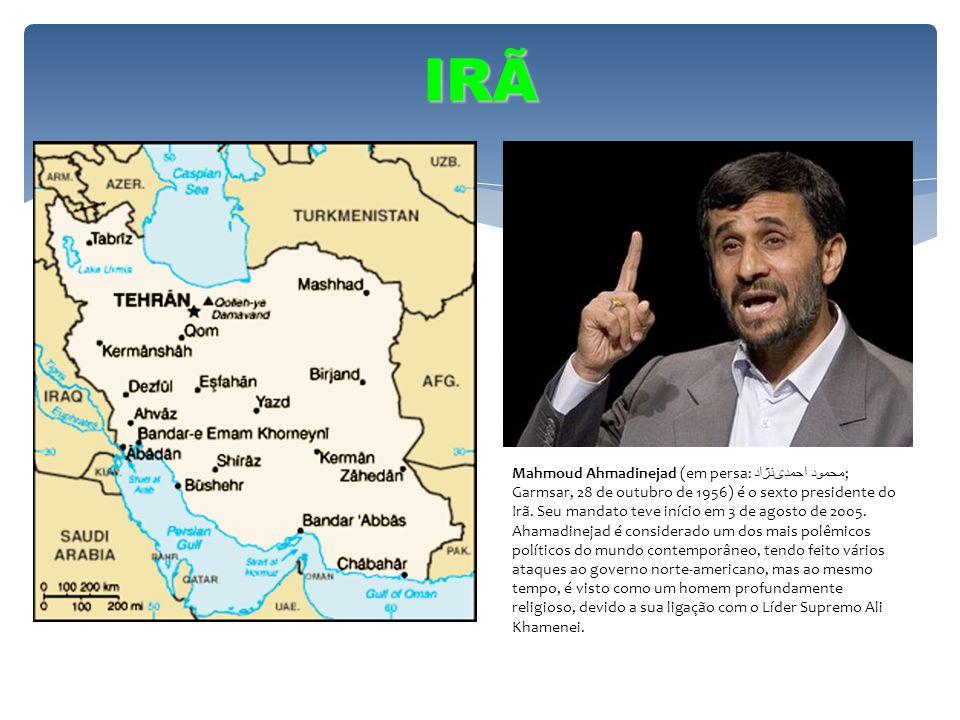 IRÃ Mahmoud Ahmadinejad (em persa: محمود احمدینژاد ; Garmsar, 28 de outubro de 1956) é o sexto presidente do Irã. Seu mandato teve início em 3 de agos