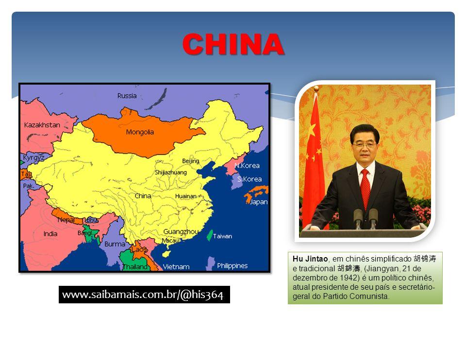 CHINA Hu Jintao, em chinês simplificado e tradicional, (Jiangyan, 21 de dezembro de 1942) é um político chinês, atual presidente de seu país e secretá