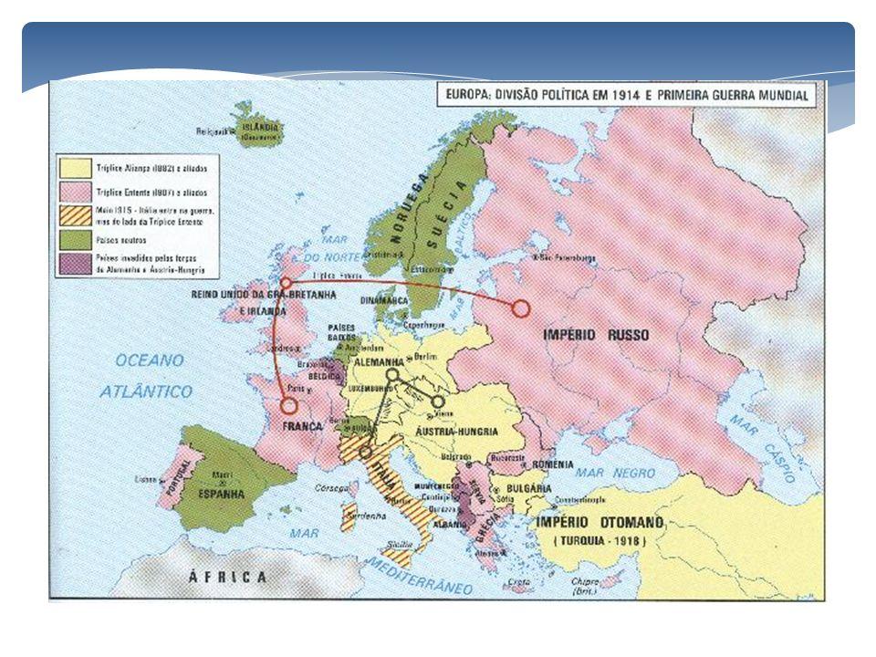 A explosão do conflito 28 de julho de 1914 – O Império Austro-Húngaro declara guerra à Servia 29 de julho – Em apoio à Sérvia, a Rússia mobiliza seus exércitos contra o Império Austro-Húngaro e contra a Alemanha.