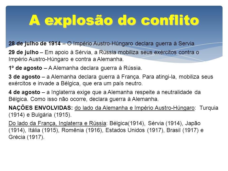 A explosão do conflito 28 de julho de 1914 – O Império Austro-Húngaro declara guerra à Servia 29 de julho – Em apoio à Sérvia, a Rússia mobiliza seus