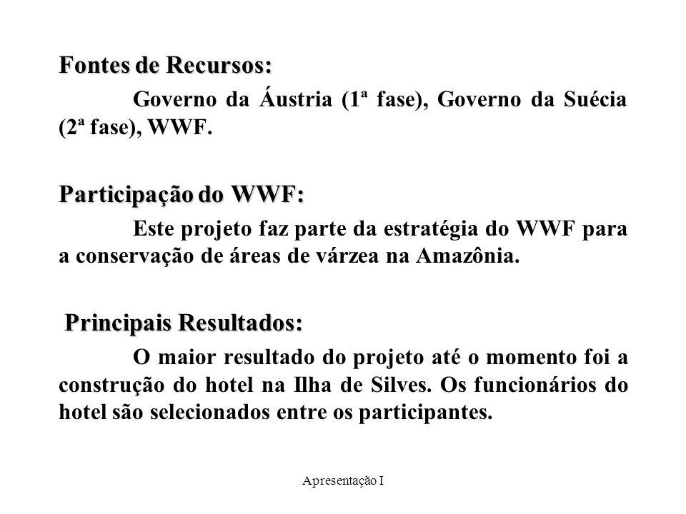 Apresentação I Fontes de Recursos: Governo da Áustria (1ª fase), Governo da Suécia (2ª fase), WWF.