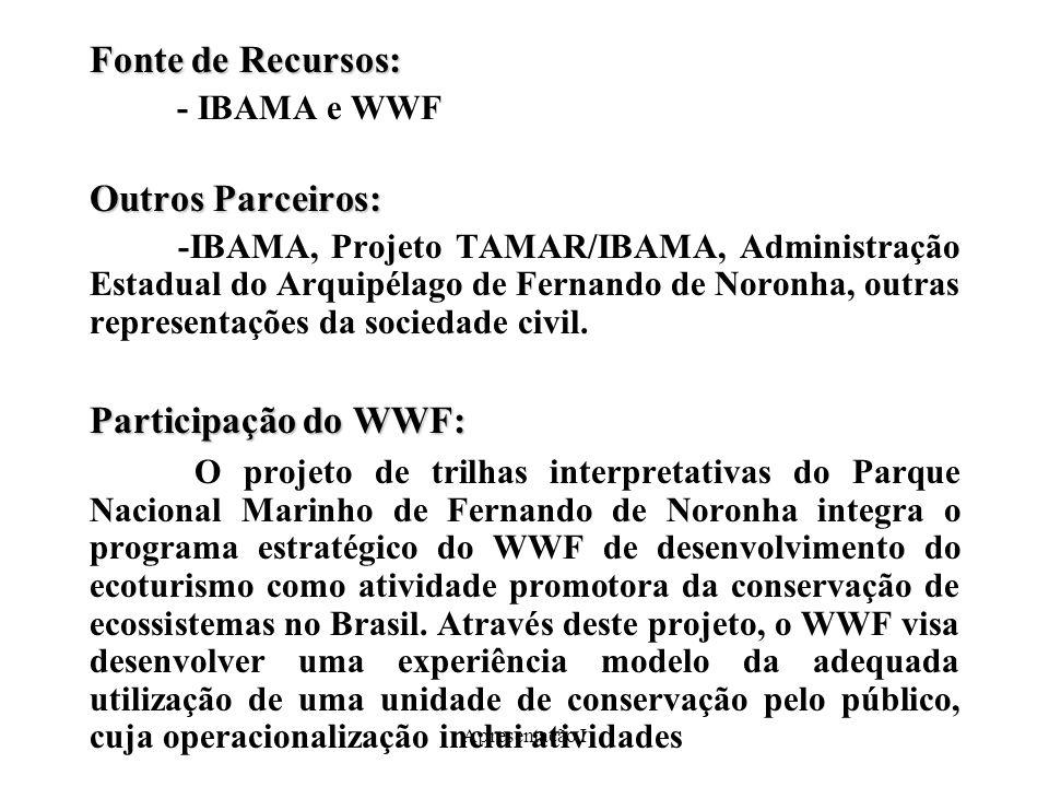Apresentação I Fonte de Recursos: - IBAMA e WWF Outros Parceiros: -IBAMA, Projeto TAMAR/IBAMA, Administração Estadual do Arquipélago de Fernando de Noronha, outras representações da sociedade civil.