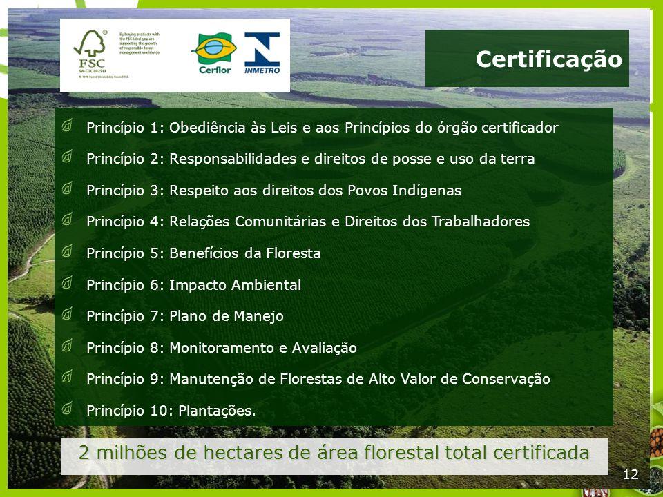 12 Certificação 2 milhões de hectares de área florestal total certificada 12 Princípio 1: Obediência às Leis e aos Princípios do órgão certificador Pr