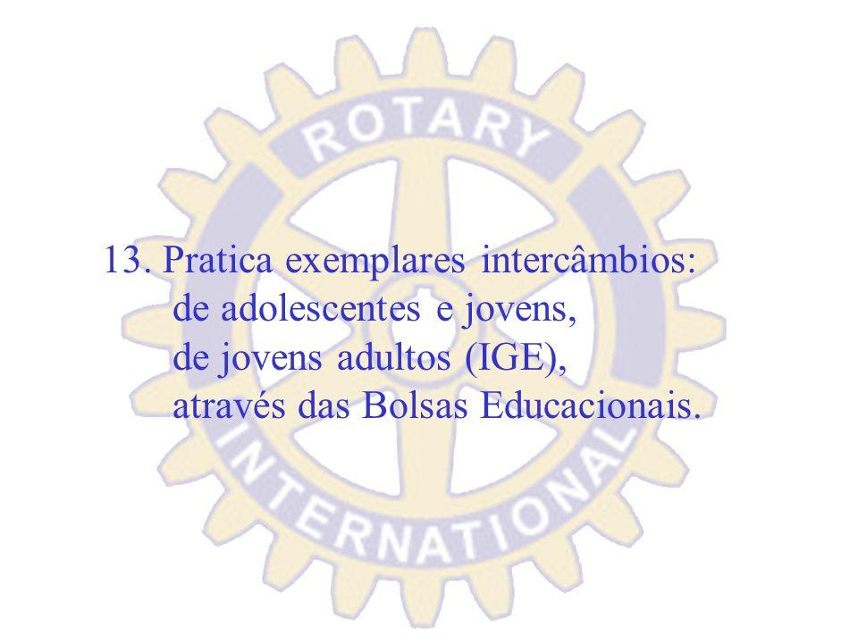 12. Destaca-se como integrante da mais forte rede internacional de prestação de serviços. Relaciona-se com outros clubes do exterior.