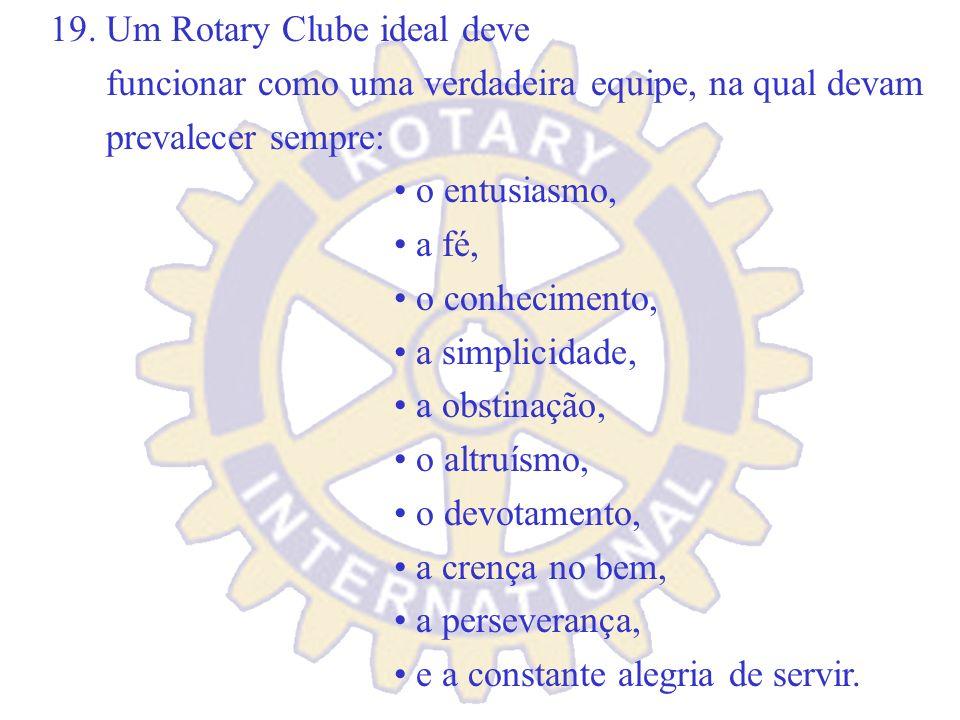 18. Trabalha em prol da promoção da imagem pública do Rotary. Nenhuma entidade de voluntários no mundo possui uma marca tão forte, mais respeitada e m