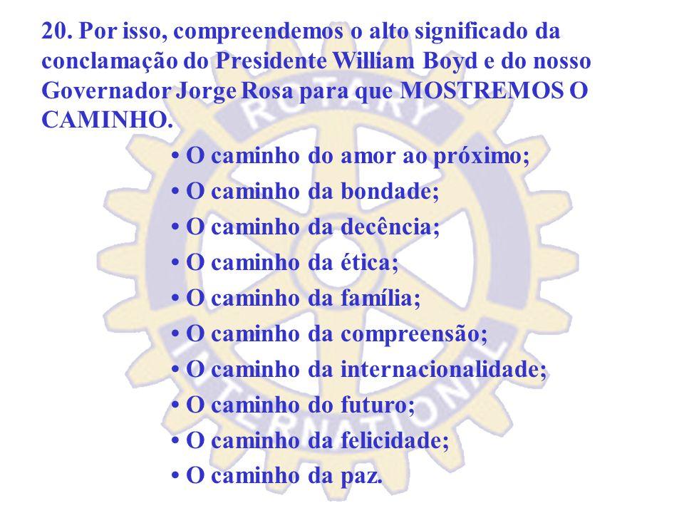 19. Um Rotary Clube ideal deve funcionar como uma verdadeira equipe, na qual devam prevalecer sempre: o entusiasmo, a fé, o conhecimento, a simplicida