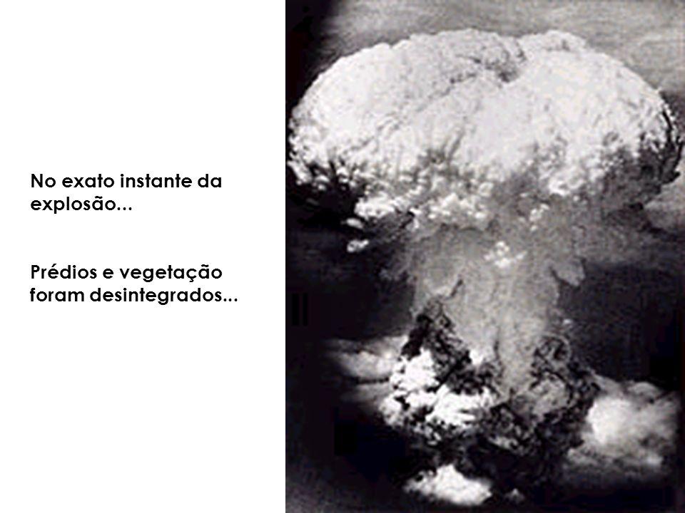 No exato instante da explosão... Prédios e vegetação foram desintegrados...