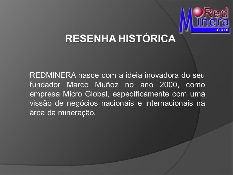 RESENHA HISTÓRICA REDMINERA nasce com a ideia inovadora do seu fundador Marco Muñoz no ano 2000, como empresa Micro Global, específicamente com uma vi