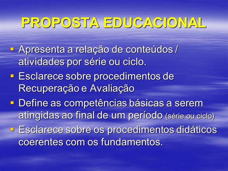 FUNDAMENTOS Ético-políticos Ético-políticos –Estabelece o compromisso da escola em termos de valores, princípios e compromissos.
