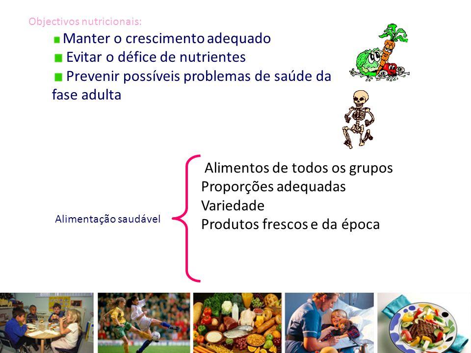 Objectivos nutricionais: Manter o crescimento adequado Evitar o défice de nutrientes Prevenir possíveis problemas de saúde da fase adulta Alimentação