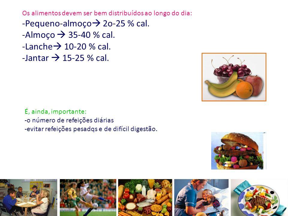 Os alimentos devem ser bem distribuídos ao longo do dia: -Pequeno-almoço 2o-25 % cal. -Almoço 35-40 % cal. -Lanche 10-20 % cal. -Jantar 15-25 % cal. É