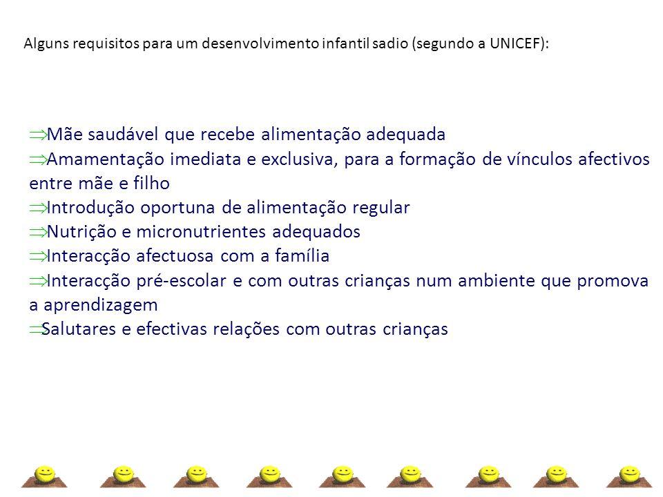 Alguns requisitos para um desenvolvimento infantil sadio (segundo a UNICEF): Mãe saudável que recebe alimentação adequada Amamentação imediata e exclu