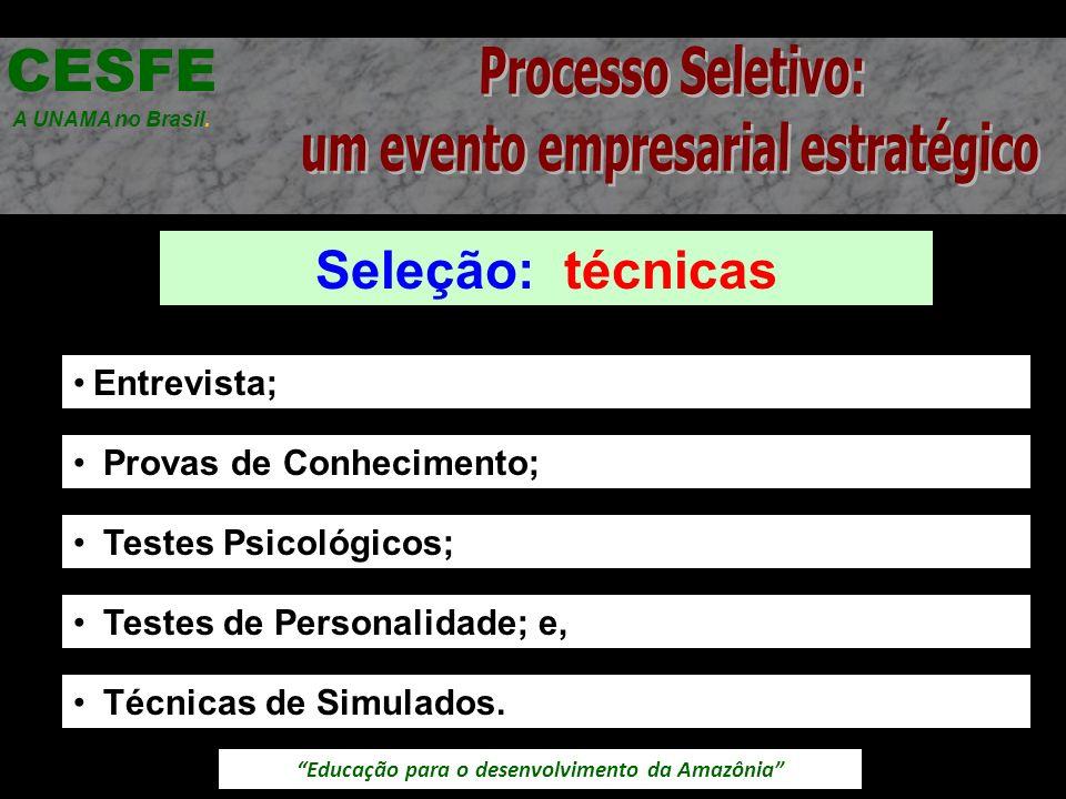 Educação para o desenvolvimento da Amazônia Seleção: técnicas CESFE A UNAMA no Brasil. Entrevista; Provas de Conhecimento; Testes Psicológicos; Testes