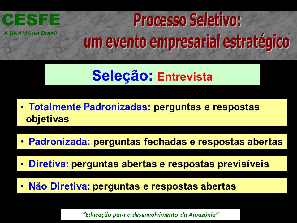 Educação para o desenvolvimento da Amazônia Seleção: Entrevista CESFE A UNAMA no Brasil. Totalmente Padronizadas: perguntas e respostas objetivas Padr
