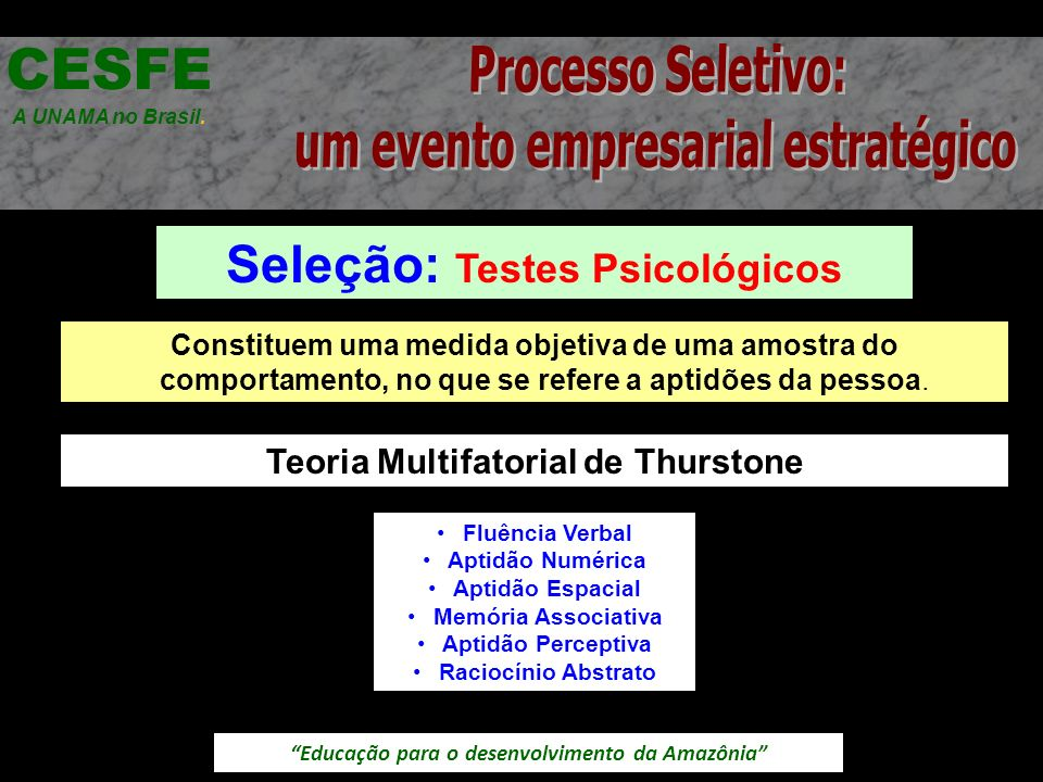 Educação para o desenvolvimento da Amazônia Seleção: Testes Psicológicos CESFE A UNAMA no Brasil. Constituem uma medida objetiva de uma amostra do com