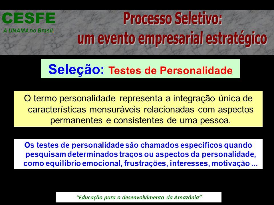Educação para o desenvolvimento da Amazônia Seleção: Testes de Personalidade CESFE A UNAMA no Brasil. O termo personalidade representa a integração ún