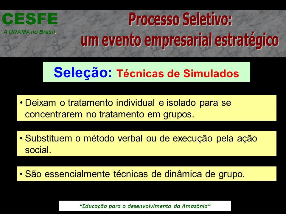 Educação para o desenvolvimento da Amazônia Seleção: Técnicas de Simulados CESFE A UNAMA no Brasil. Deixam o tratamento individual e isolado para se c