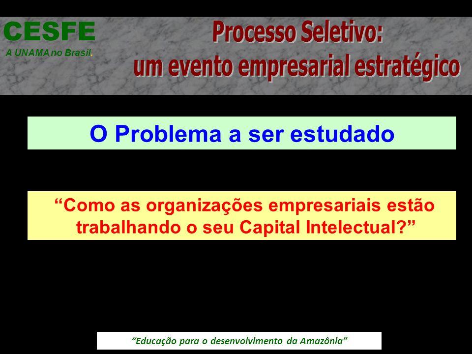 Educação para o desenvolvimento da Amazônia O Problema a ser estudado CESFE A UNAMA no Brasil. Como as organizações empresariais estão trabalhando o s