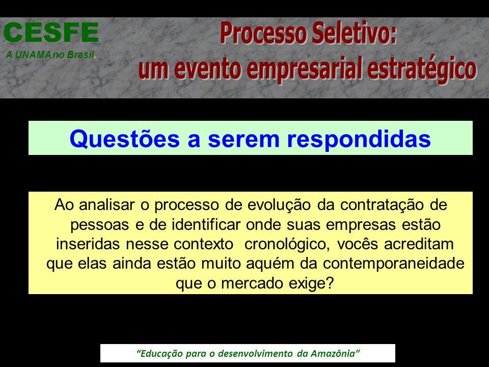 Educação para o desenvolvimento da Amazônia Questões a serem respondidas CESFE A UNAMA no Brasil. Ao analisar o processo de evolução da contratação de