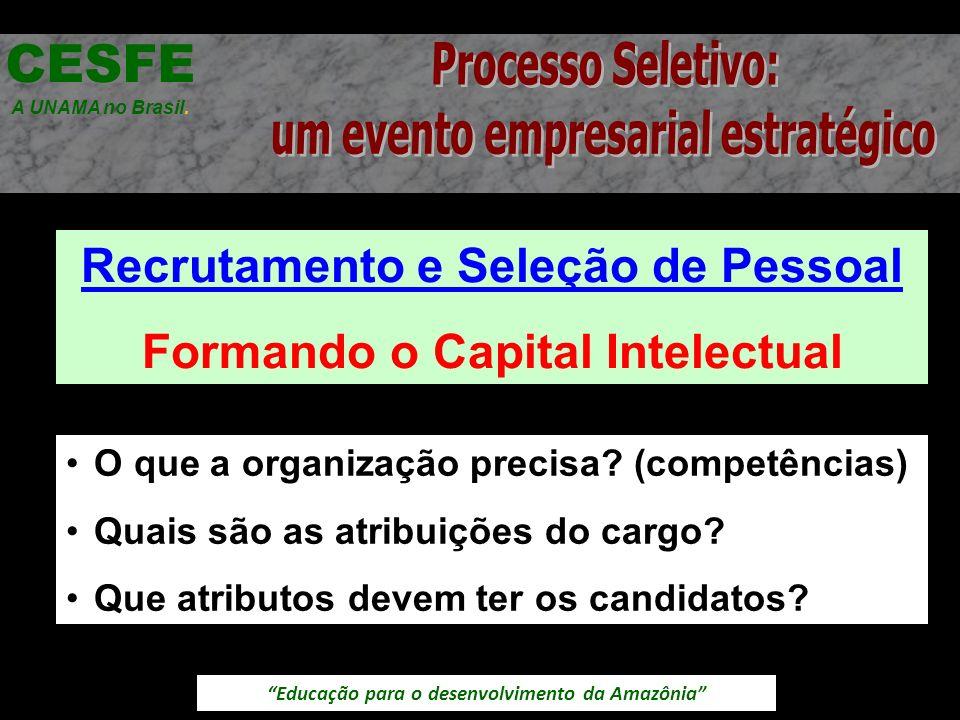 Educação para o desenvolvimento da Amazônia Recrutamento e Seleção de Pessoal Formando o Capital Intelectual CESFE A UNAMA no Brasil. O que a organiza