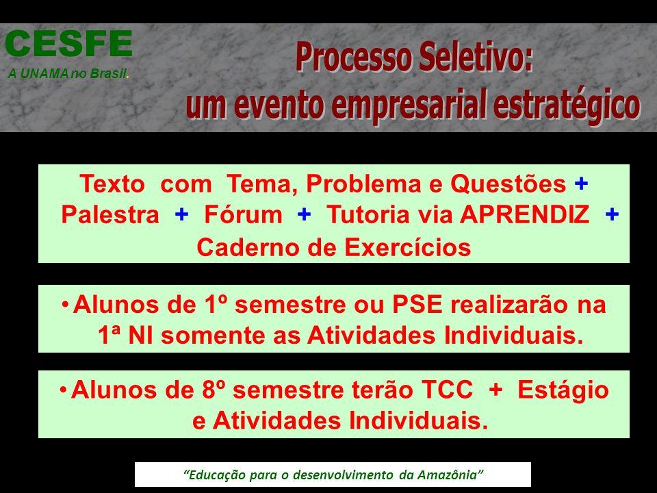 Educação para o desenvolvimento da Amazônia Texto com Tema, Problema e Questões + Palestra + Fórum + Tutoria via APRENDIZ + Caderno de Exercícios CESFE A UNAMA no Brasil.