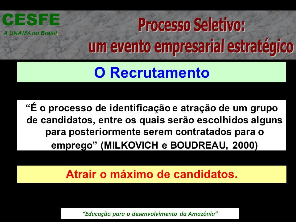 Educação para o desenvolvimento da Amazônia Recrutamento Interno CESFE A UNAMA no Brasil.