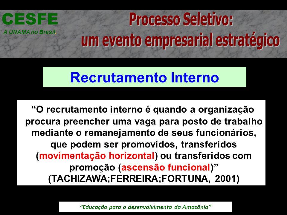 Educação para o desenvolvimento da Amazônia Recrutamento Interno CESFE A UNAMA no Brasil. O recrutamento interno é quando a organização procura preenc