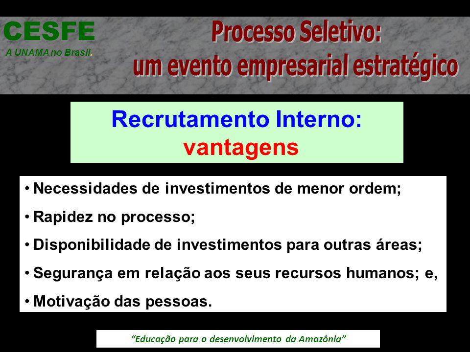 Educação para o desenvolvimento da Amazônia Recrutamento Interno: vantagens CESFE A UNAMA no Brasil. Necessidades de investimentos de menor ordem; Rap