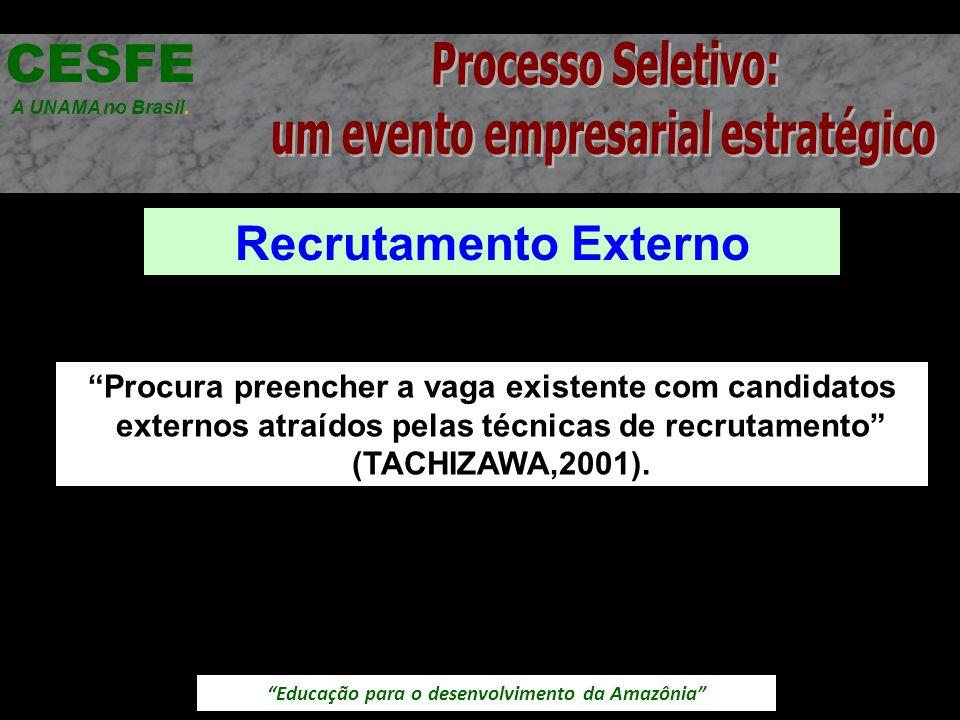 Educação para o desenvolvimento da Amazônia Recrutamento Externo CESFE A UNAMA no Brasil. Procura preencher a vaga existente com candidatos externos a