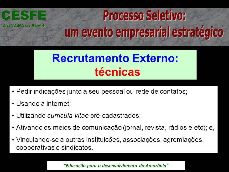 Educação para o desenvolvimento da Amazônia Recrutamento Externo: técnicas CESFE A UNAMA no Brasil. Pedir indicações junto a seu pessoal ou rede de co